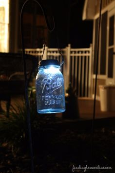 Mason Jar Lights - DIY Mason Jar Solar Light - DIY Ideas with Mason Jars for Outdoor, Kitchen, Bathroom, Bedroom and Home, Wedding. How to Make Hanging Lanterns, Rustic Chandeliers and Pendants, Solar Lights for Outside  http://diyjoy.com/diy-mason-jar-lights-lanterns