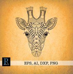 Giraffe Art, Giraffe Pattern, Giraffes, Vector File, Vector Graphics, Animal Outline, Cut Animals, Sublimation Mugs, Tribal Art
