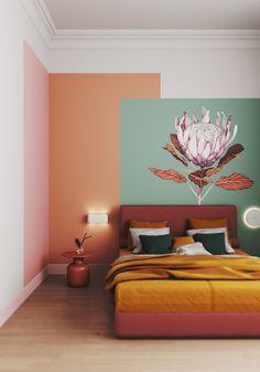 Bedroom Wall Designs, Room Design Bedroom, Room Ideas Bedroom, Home Room Design, Home Interior Design, Diy Bedroom Decor, Home Decor, Colourful Living Room, Paint Colors For Living Room