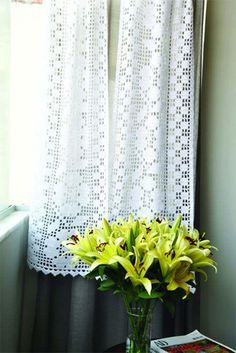 Crochet Curtains Archives - Page 3 of 14 - Beautiful Crochet Patterns and Knitting Patterns Crochet Curtain Pattern, Crochet Curtains, Crochet Cushions, Curtain Patterns, Lace Curtains, Crochet Art, Crochet Home, Crochet Doilies, Knitting Patterns