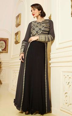 Exotic Black and #Gray #Partywear Salwar Kameez @ http://www.indiandesignershop.com/product/exotic-black-and-gray-partywear-salwar-kameez/