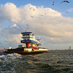 Bolivar Ferry leaves Galveston, Texas hourly.  it was The first ferry operated by the State of Texas left Port Bolivar to Galveston on July 1, 1934.