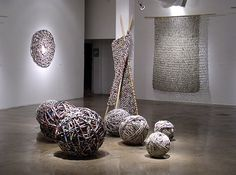 Italian artist Ivano Vitali knits and crochets using yarn made from strips of found materials, such as newspapers and phone books, with no glue, coloring, or water added. His large-scale tapestries and other sculptures were featured in an exhibition earlier this year in San Antonio