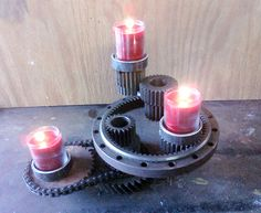 Gear Sprocket Candle Holders