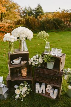 Crate Decor Rustic White Flowers Green Intimate Outdoor Farmhouse Wedding http://www.abiriley.co.uk/