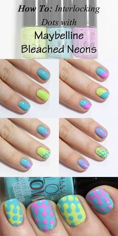 Maybelline Bleached Neons Interlocking Dots Nail Art Tutorial - 12 Easter-Inspired Nail Art Designs and Tutorials Diy Nails, Cute Nails, Dotting Tool Designs, Nails Decoradas, Nail Art Designs 2016, Uñas Diy, Nagel Hacks, Dot Nail Art, Easy Nail Art