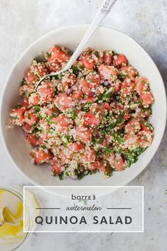 Herby Watermelon Quinoa Salad & Lemon Vinaigrette.   This light and refreshing salad looks and tastes just like summer! The protein in quinoa makes this salad a complete meal all by itself. Or, you can serve it as a side with some grilled protein. Make it a fall or winter recipe by replacing the watermelon with more seasonal produce pick. RECIPE: http://blog.barre3.com/recipes/herby-watermelon-quinoa-salad-with-lemon-vinaigrette  (Recipe courtesy of With Food + Love.)