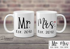 Mr and Mrs Mugs Set, Anniversary Gift, Custom Mr & Mrs Coffee Cups, Personalized Wedding Gift / Pres Vinyl Crafts, Vinyl Projects, Craft Projects, Craft Ideas, Tall Coffee Mugs, Coffee Cups, Personalized Cups, Personalized Wedding Gifts, Top Wedding Trends