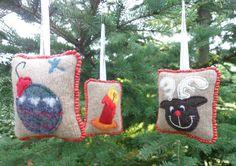 Set of 3 handmade wool Christmas ornaments by SewFreshAgain, $24.95