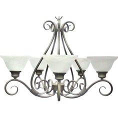 Illumine 5-Light Kentucky Bronze Chandelier with Marble Glass Shade-HD-MA40403257 - The Home Depot