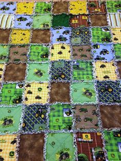 John Deere Rag Quilt Tractor 50 X 58 Cotton by nanaswoolies