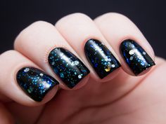 **Pretty & Polished - The Diamond Necklace Affair (Save the Dauphine Collection Spring 2013) / ChalkboardNails [1 coat over black] - $7.00