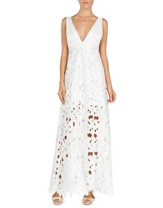 Macramé Lace - Blugirl Spring Summer 2016 • Long Lace Dress. • This sleeveless Blugirl dress is rendered in lace embroidery and features a deep v-neck, an empire waist with a fluid silhouette, and a sheer skirt partially lined with an ankle length hem.