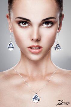 Navy blue ceramic earrings Delft earrings Long by ZuDesignJewelry