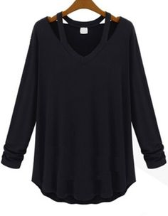 Black long sleeve shirt for women ,full sleeve t shirt for women ,black long sleeve cotton tee ,fall v neck t shirt black ,hollow cotton shirt for women ,black tee women hollow .loose t-shirt black .Click to Romwe save up to 55% 1st order !