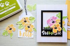 love the bold pop from the colorful flowers paired with the black frame; using Color Layering Hibiscus by Hero Arts and Hello Sunshine Frame die by Simon Says Stamp