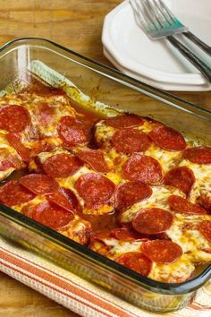 Low-Carb Pepperoni Pizza Chicken Bake found on Kalynskitchen.com
