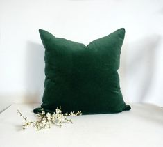 Two Pillows. Forest green/dark green just plain. Dark Green Velvet Pillow Case…
