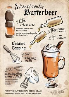 Butterbeer - inspired by the Harry Potter book series .Butterbier - inspired by the Harry Potter book series Harry Potter Party Ideas Harry Potter Party Food, Harry Potter Motto Party, Harry Potter Cookbook, Harry Potter Drinks, Harry Potter Bday, Harry Potter Halloween, Harry Potter Christmas, Harry Potter Butterbeer, Harry Potter Desserts