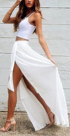 Long White Pleated Wrap Skirt