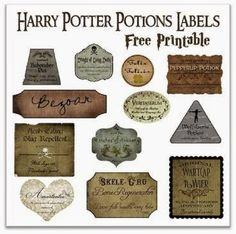 Imprimibles para colocar en las botellas que simulaban pociones mágicas.  (Eventos Happy Ever After)