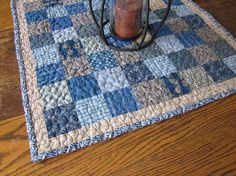 Calico print homespun patchwork table by granniesraggedybags