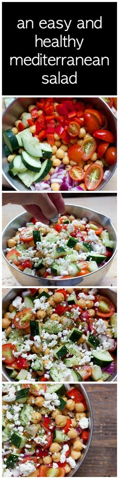 Awesome an easy salad to throw together in 20 minutes that keeps you full! salad recipes, vegetarian recipes The post an easy salad to throw together in 20 minutes that keeps you full! Mediterranean Chickpea Salad, Mediterranean Diet Recipes, Veggie Recipes, Vegetarian Recipes, Cooking Recipes, Beef Recipes, Vegetarian Lunch, Salad Recipes Healthy Vegetarian, Recipies