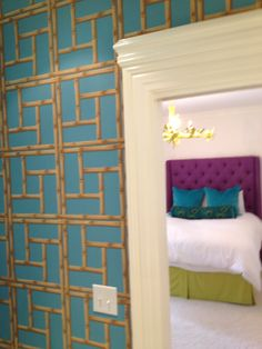 Bamboo fretwork in turquoise  Bedrooms by Parker Kennedy Living