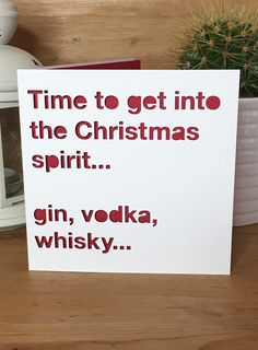 Christmas Card Drink, Spirit, quote, alcohol, funny Christmas Xmas card, card for him, card for her, friend, fun by PerfectlyPapercuts on Etsy