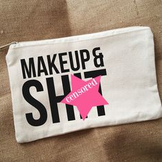 Mature - Censored - Small Canvas Makeup Bag - Zippered Makeup Pouch - Funny Gift Idea - Travel Bag - Zippered Pouch - Makeup & Sh*t