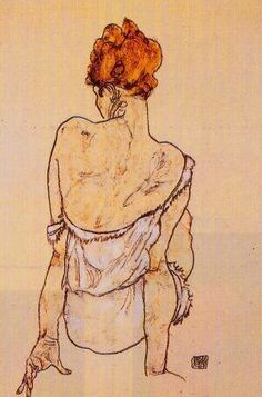 Egon Schiele - 'Zittende vrouw on the rug' (1913) This piece was done using pen and water colour with a light, natural tone of palette, making the hair the most bold colour used. The composition of this piece is simple with the figure in the centre but the the back view with the head twisted to the left seems as though the figure is hiding something or is in a natural relaxed position. The simple line strokes exaggerate her feminity as it reminds me of elegance and beauty. The figure to me…