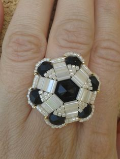 Free Tutorial! DIY Soccer Ball Ring from Beads Via Szilvia featured in recent Bead-Patterns.com Newsletter!