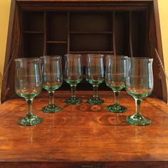 Drinking Glasses Six Glasses Set of Six Glasses by ChicAntiquing
