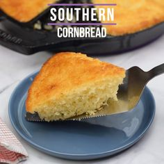 Easy, Homemade Classic Southern Style Cornbread is the best, traditional cast iron skillet cornbread recipe made from scratch. This old fashioned, soul food staple is made with cornmeal and buttermilk Cornbread Recipe No Sugar, Cornbread Recipe From Scratch, Southern Cornbread Recipe, Healthy Cornbread, Fried Cornbread, Moist Cornbread, Honey Cornbread, Homemade Cornbread, Southern Recipes