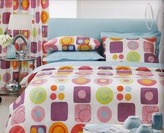 $125 Custom Queen Size Pastel Pink  Purple Blue Yellow Green Orange Geometrical Printed Bedding Set Mothers Day Gift Ideas
