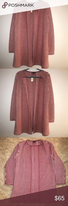 """NWT Talbots Sweater Coat. Size L. Gorgeous! NWT!!  100% Merino Wool. This sweater is gorgeous! Red & white checkered design all over. Open front. Longer length. Size L.   Approx measurements - laying flat:  Armpit to armpit - 21"""" Length from top of shoulder down - 32"""" Talbots Sweaters"""