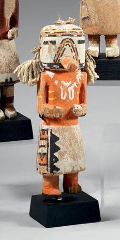 Qoia or Kau-a kachina tihu, Old type, Hopi. Colton 135 [jcx]. Characteristic inverted multicolor V over tube mouth and band of same color over forehead. Said to be an old time Navajo Kachina. said to be same as Kau-a, Colton 234.