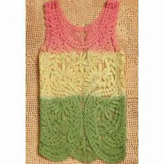 Crochet Flower Hollow Out Wavy Edge Gradient Color Lace Tank Top For Women. Sammydrass have the best clothes!