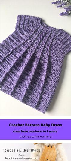 Crochet Pattern Baby Dress - Newborn to 36 months Baby Girl Crochet, Crochet Baby Clothes, Crochet Baby Dress Free Pattern, New Baby Girls, Baby Girl Gifts, Modern Crochet Patterns, Baby Dress Patterns, Moda Emo, Baby Kind