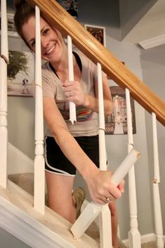 How to Replace Wooden Balusters with Iron the Easy and Cheap Way! One of the easiest and biggest transformations we've done is updating our railing and balusters from the oak and wood to dark walnut and iron. Staircase Remodel, Staircase Railings, Staircase Design, Staircase Ideas, Wrought Iron Staircase, Railing Design, Diy Stair Railing, Railing Ideas, Foyer Ideas