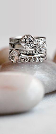 Stunning bezel set engagement rings. I love these