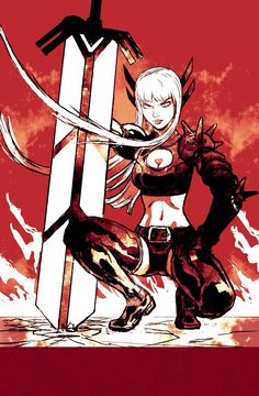 bangs belt black gloves boots breasts cleavage cleavage cutout felipe smith gloves hair ornament highres illyana rasputina lips long hair magik marvel medium breasts midriff navel oversized object red short shorts shorts solo spikes squatting sword t Marvel Comic Character, Comic Book Characters, Marvel Characters, Comic Books Art, Comic Art, Character Art, Character Design, Magik Marvel, Marvel Comics