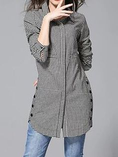Button Up Plaid Print Turndown Collar Curved Shirt - Moda Stylish Dresses For Girls, Stylish Dress Designs, Fashion Pants, Hijab Fashion, Fashion Dresses, Look 80s, Stil Inspiration, Blouse Designs, Kurta Designs Women