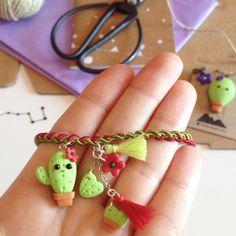 Linda pulsera de Cactus joyería de la arcilla de polímero