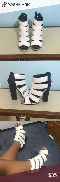 Black and white thick heels Size 7 1/2, black and white thick caged heels Shoes Heels