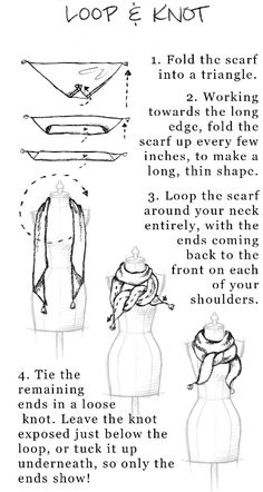 5 ways to tie a square scarf