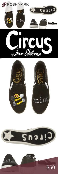 """NIB Sam Edelman """"Bee Mine"""" Slip-on Sneaks ❤️ Brand new, never worn size 9.5 Circus by Sam Edelman black Bee Mine slip-ons. So! Adorable!! White soled, black shoes with silver letters and bee wings. Buzz buzz love birds. ❤️ Circus by Sam Edelman Shoes Flats & Loafers"""