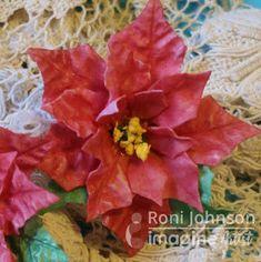 Ink Stains Foamiran poinsettia flower - colored using Delicata inks, cut with spellbinders dies. #imagine #delicata #poinsettia #foamiran #handmadeflower #flower #diecut