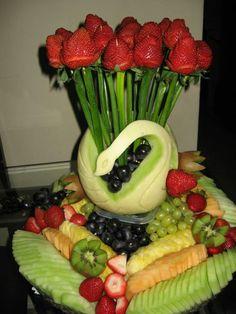 Swan fruit platter