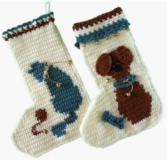 Picture of Cat and Mouse and Puppy Love Stockings Crochet Pattern